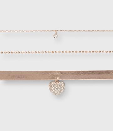 Aeropostale Aeropostale Heart Choker Short-strand Necklace 3-pack - Multi
