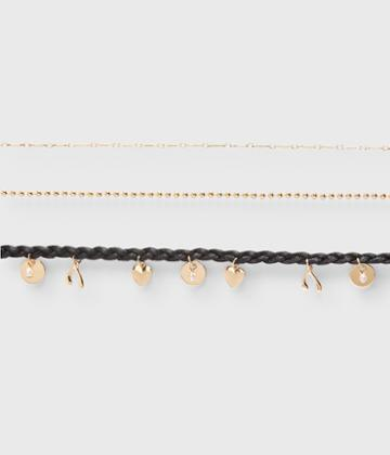 Aeropostale Aeropostale Braided Charm Choker Short-strand Necklace 3-pack - Gold