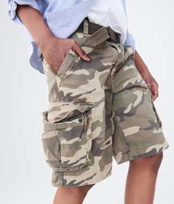 Aeropostale Aeropostale Camo Belted Cargo Shorts - Tan, 27