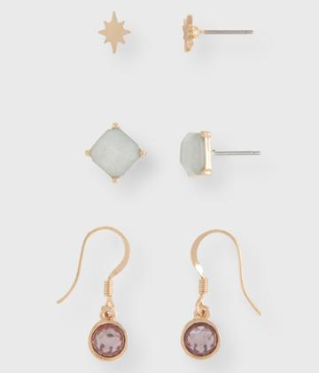 Aeropostale Aeropostale Starburst Stud & French Wire Earring 3-pack - Gold