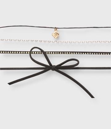 Aeropostale Aeropostale Bow Choker Short-strand Necklace 4-pack - Black