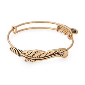 Alex And Ani Feather Spiritual Armor Bangle, Rafaelian Gold Finish