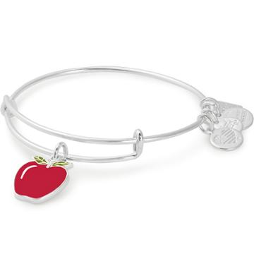 Alex And Ani Apple Charm Bangle | Blessings In A Backpack, Shiny Silver Finish