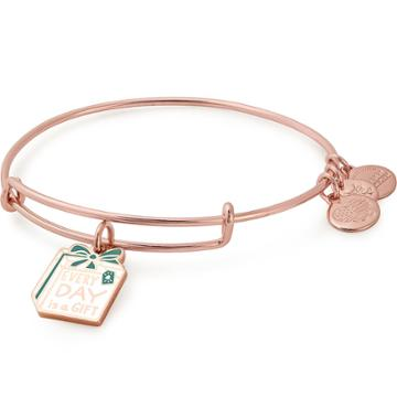 Alex And Ani Every Day Is A Gift Charm Bangle Online Exclusive, Shiny Rose Gold Finish