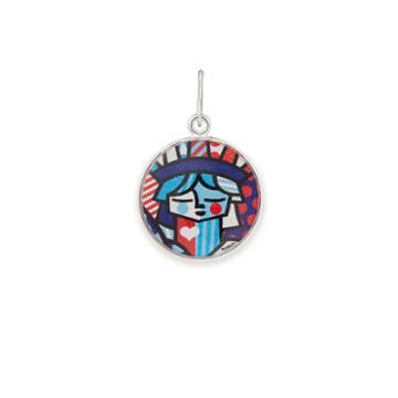 Alex And Ani Freedom Art Infusion Necklace Charm Romero Britto, Shiny Silver Finish