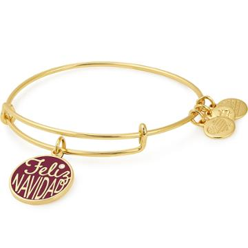 Alex And Ani Feliz Navidad Charm Bangle Online Exclusive, Shiny Gold Finish