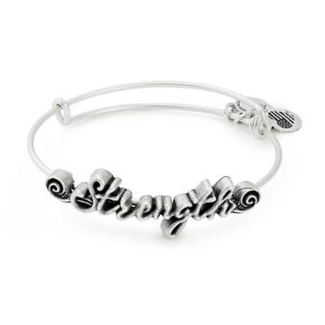 Alex And Ani Strength Spiritual Armor Bangle, Rafaelian Silver Finish