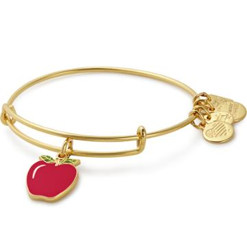 Alex And Ani Apple Charm Bangle | Blessings In A Backpack, Shiny Gold Finish