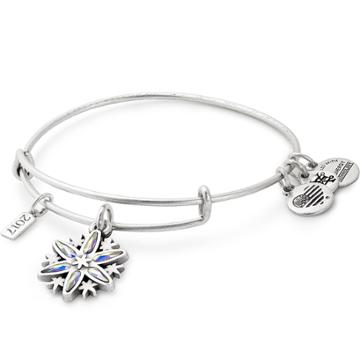 Alex And Ani 2017 Black Friday Snowflake Charm Bangle, Rafaelian Silver Finish