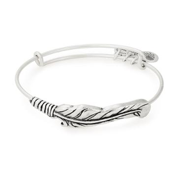Alex And Ani Feather Spiritual Armor Bangle, Rafaelian Silver Finish