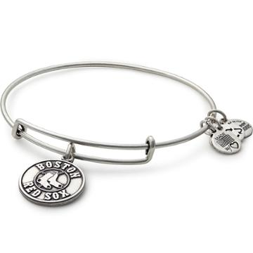 Alex And Ani Boston Red Sox  Primary Logo Charm Bangle, Rafaelian Silver Finish