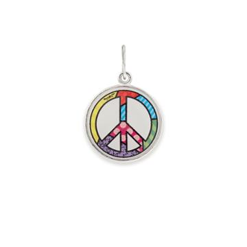 Alex And Ani Peace Sign Art Infusion Necklace Charm Romero Britto, Shiny Silver Finish