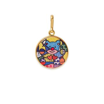 Alex And Ani Friendship Bear Art Infusion Necklace Charm Romero Britto, Shiny Gold Finish