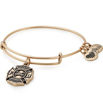 Alex And Ani Firefighter Charm Bangle, Rafaelian Gold Finish