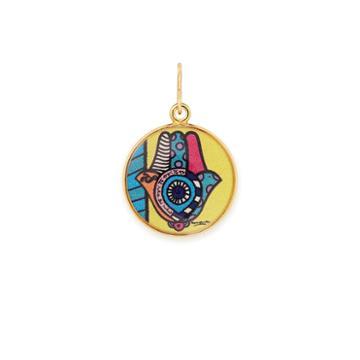 Alex And Ani Hamsa Art Infusion Necklace Charm Romero Britto, Shiny Gold Finish