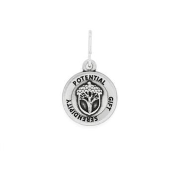 Alex And Ani Unexpected Miracles Mini Necklace Charm Rafaelian Silver Finish