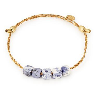 Alex And Ani Sodalite Gemstone Precious Threads Bracelet, 14kt Gold Plated
