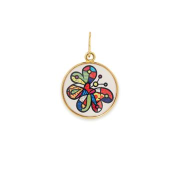Alex And Ani Butterfly Art Infusion Necklace Charm Romero Britto, Shiny Gold Finish