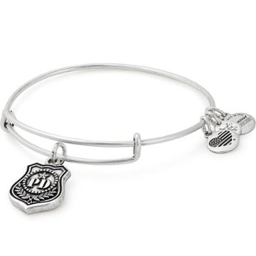 Alex And Ani Law Enforcement Charm Bangle, Rafaelian Silver Finish