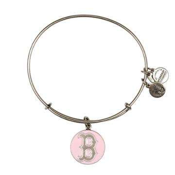 Alex And Ani Pink Boston Red Sox  Cap Logo Charm Bangle, Rafaelian Silver Finish