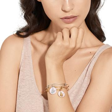 Alex And Ani St. Agatha Charm Bangle Breast Cancer Research Foundation October Exclusive, Rafaelian Silver Finish