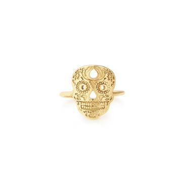 Alex And Ani Calavera Adjustable Statement Ring, 14kt Gold Plated Sterling Silver