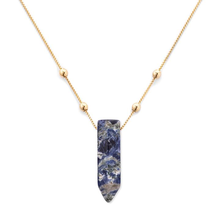 Alex And Ani Sodalite Pendant Necklace, 14kt Gold Plated