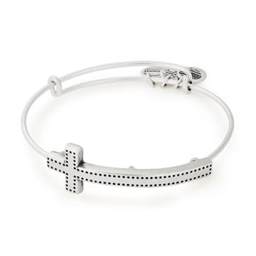 Alex And Ani Cross Spiritual Armor Bangle, Rafaelian Silver Finish