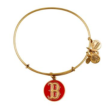 Alex And Ani Red Boston Red Sox  Cap Logo Charm Bangle, Rafaelian Gold Finish