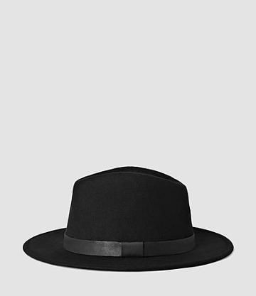 Allsaints Bronson Leather Trim Fedora Hat