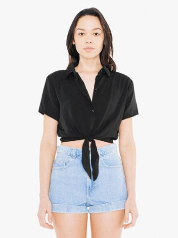American Apparel Viscose Twill Mid-length Tie-up Blouse