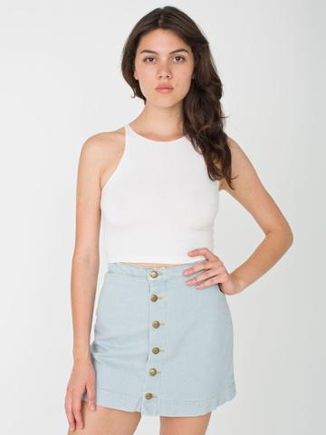 American Apparel Button Front Denim A-line Skirt