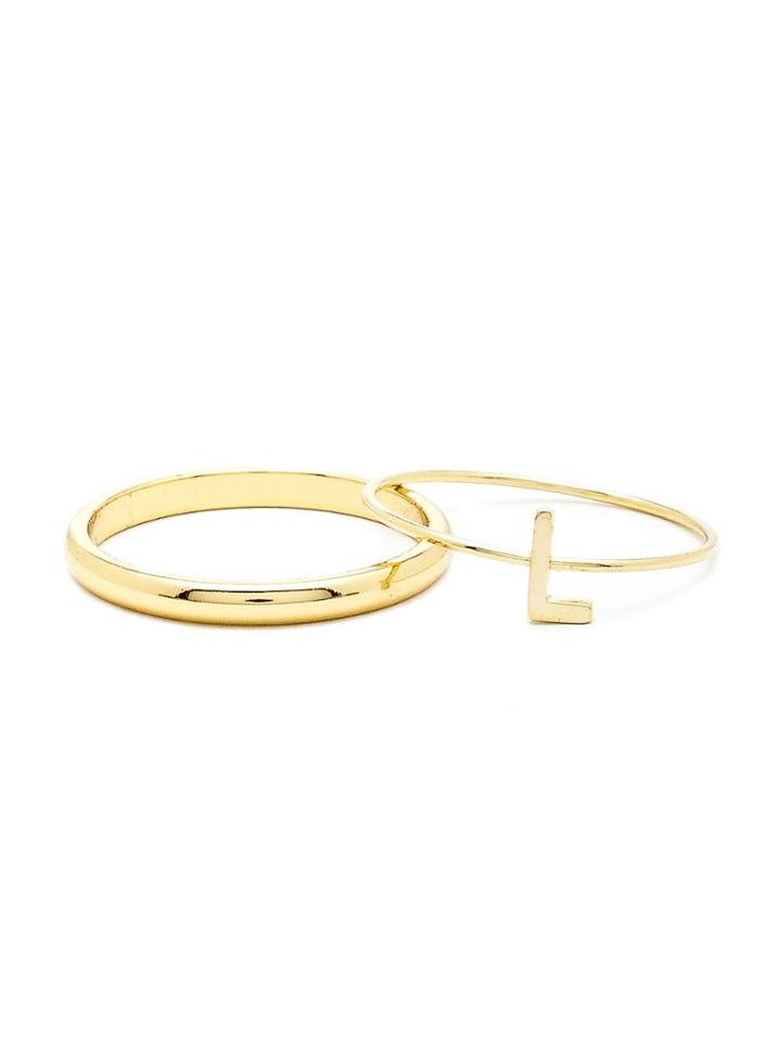 American Apparel Gold Tone Abc Stacking Ring Set