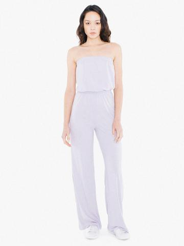 American Apparel Tri-blend Strapless Wide Leg Jumpsuit
