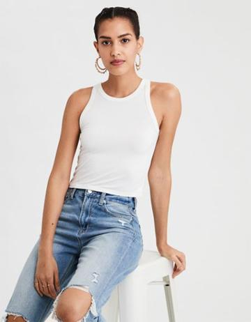 American Eagle Outfitters Ae Soft & Sexy High Neck Cropped Tank Top