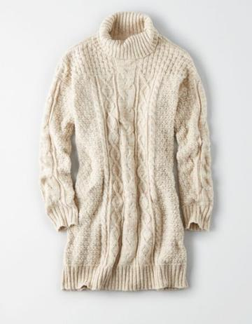 American Eagle Outfitters Ae Turtle Neck Cable Sweater Dress