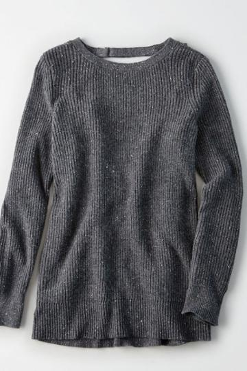 American Eagle Outfitters Ae Ribbed Open-back Sweater
