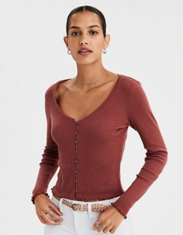 American Eagle Outfitters Ae Button-up Long Sleeve T-shirt