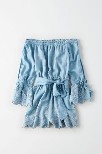 American Eagle Outfitters Ae Off-the-shoulder Embroidered Chambray Romper
