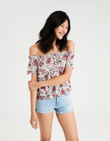 American Eagle Outfitters Ae Floral Off-the-shoulder Top