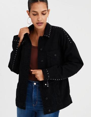 American Eagle Outfitters Ae Studded Boyfriend Denim Jacket