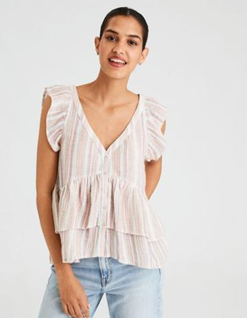 American Eagle Outfitters Ae Double Ruffle Short Sleeve Blouse