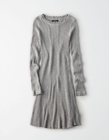 American Eagle Outfitters Ae Fit And Flare Ribbed Sweater Dress