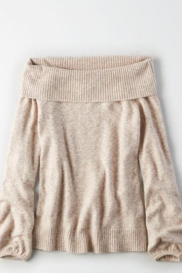 American Eagle Outfitters Ae Off-the-shoulder Puff Sleeve Sweater