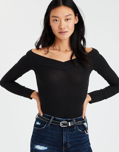 American Eagle Outfitters Ae Off-the-shoulder Cross Front Bodysuit