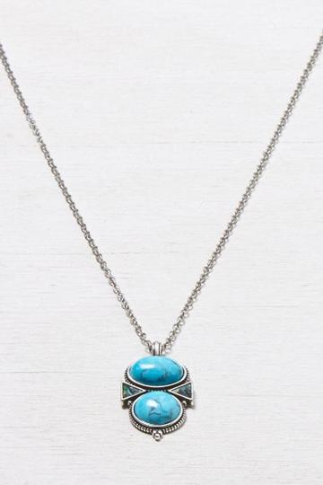 American Eagle Outfitters Silver American Eagle Turquoise Pendant Necklace
