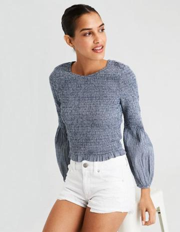 American Eagle Outfitters Ae Smocked Long Sleeve Blouse