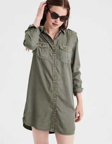 American Eagle Outfitters Ae Olive Shirt Dress