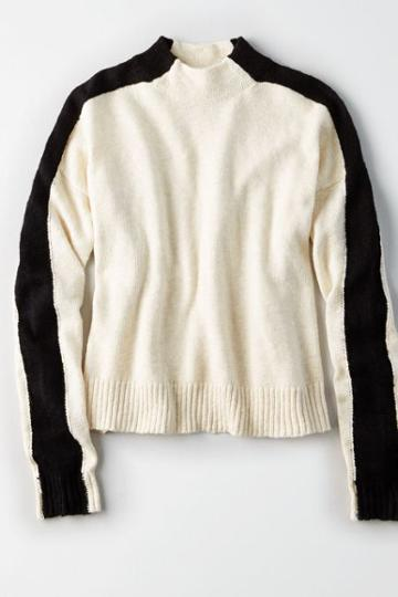 American Eagle Outfitters Ae Colorblocked Mock Neck Sweater