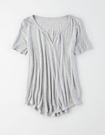 American Eagle Outfitters Ae Soft & Sexy Notch Neck Top